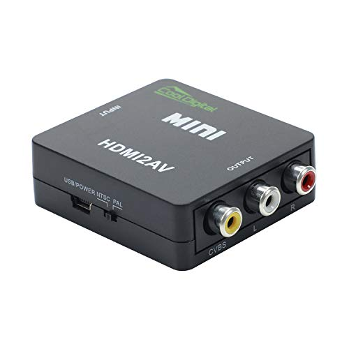 HDMI to RCA HDMI to AV Converter Adapter CoolDigital Hdmi to Composite Video Audio Converter Support NTSC/PAL with USB Charger ()