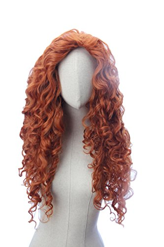 Long Copper Red Curly Wave Inspired Merida Brave Wig Heat Resistant Synthetic Hair -