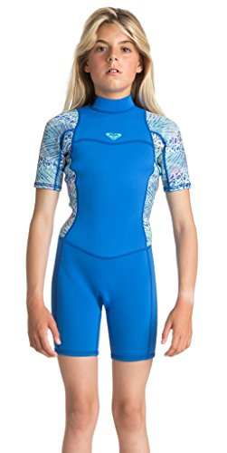 ae7973e7f Roxy Girls 2 2Mm Syncro Series - Short Sleeve Back Zip Flt Springsuit -  Girls Sea Blue Ii 12G