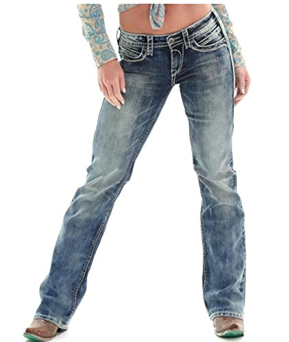 Stylish Plus Size Jeans - Cromoncent Women's Stylish Slim Fit Straight Faded Low Waist Washed Denim Pants Jeans Blue1 Medium