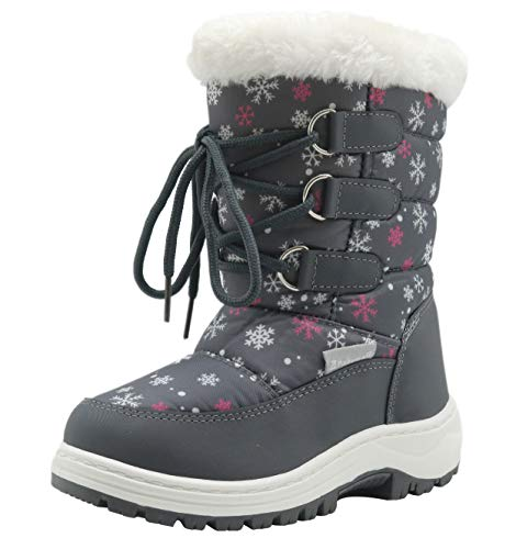 Apakowa Kids Girls Insulated Fur Winter Warm Snow Boots (Toddler/Little) Grey