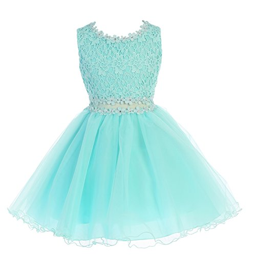 Big Girls Aqua Lace Tulle Layers Junior Bridesmaid Flower Girl Dress Size - Dress Aqua Juniors