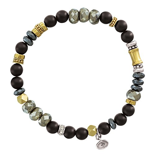 Silpada Sightseer Natural Agate Stretch Bead Bracelet with Swarovski Crystals in Sterling Silver and Brass, 6.75