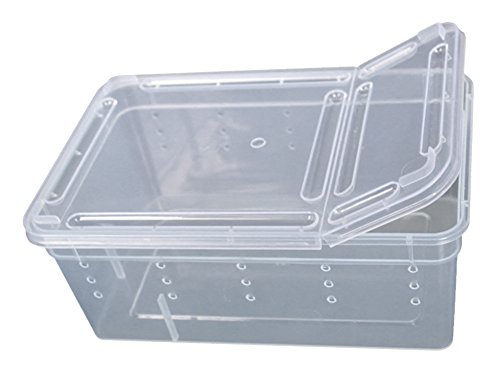 BleuMoo Transparent Plastic Box Insect Reptile Transport Breeding (Clean Reptile Cage)