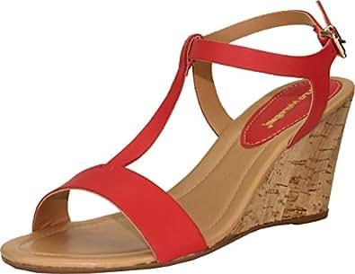 Leather Wedge Sandal w/ Cork Heel, Tomato 6 US