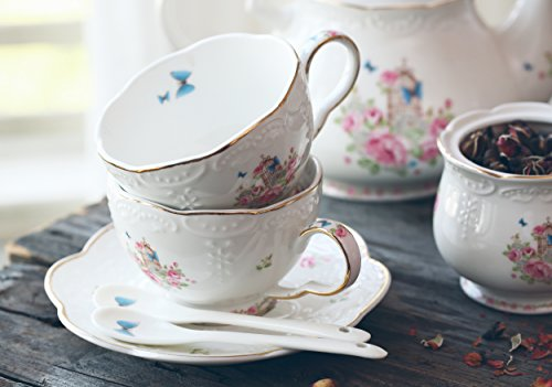 Jusalpha Fine China Porcelain Coffee Cups Flower Series Teacup Saucer Spoon with Teapot Warmer & Filter, 16pcs in 1 set (16pcs set) by Jusalpha (Image #6)