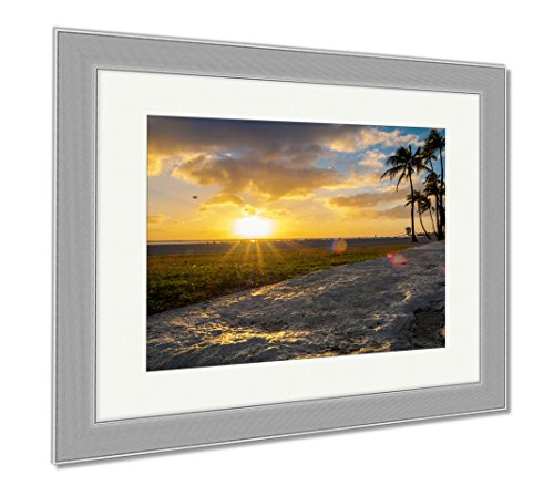 Ashley Framed Prints Setting Sun Over Beach At Ala Moana Park Along Ala Moana Park Drive The Beach, Wall Art Home Decoration, Color, 30x35 (frame size), Silver Frame, - Moana Shops At Ala