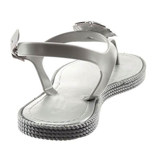Sandals Heel cm Ankle Flops t Flowers Women's Jewelry Shoes 1 Bar Silver Golden Flip Flat Strap Angkorly Fashion w1qa4XY6