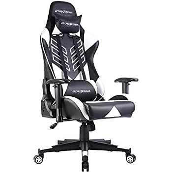 GTRACING Executive High-Back Gaming Chair Computer Office Chair PU Leather Swivel Chair Racing Chair (GT007-White)