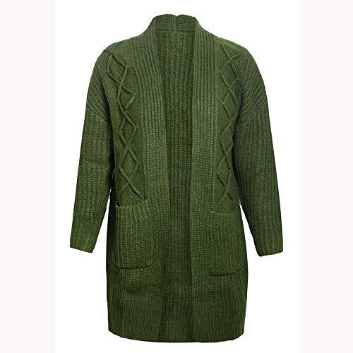 En Manches Tricot Green Lenfesh Poches Femmes Tops Pour Longues Côtelé À gXHqY7