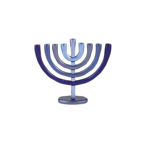 Yair Emanuel Blue Aluminum Hanukkah Menorah with Temple Design