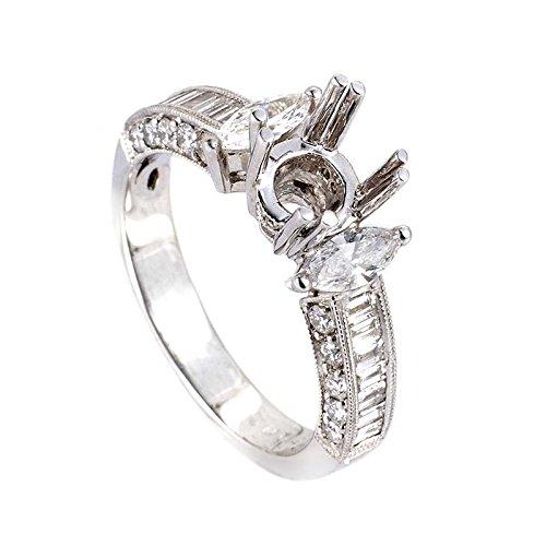 Gold Diamond Mounting (Natalie K 18K White Gold Diamond Mounting Ring)