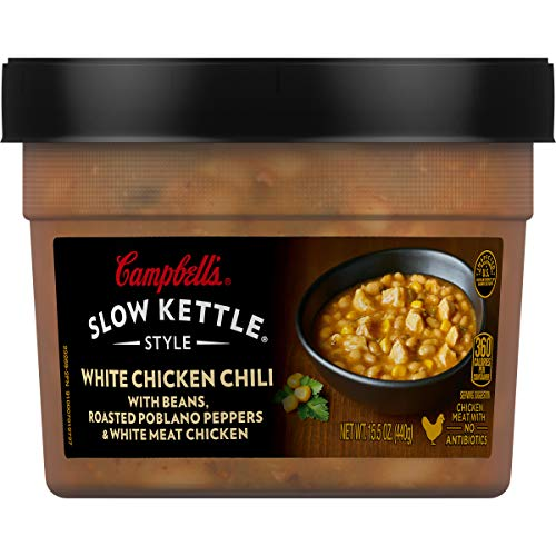 (Campbell's Slow Kettle Style White Chicken Chili with Beans, Roasted Poblano Peppers & White Meat Chicken, 15.5 oz.)