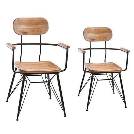 Tousmesmuebles Duo de sillones de Madera y Metal - Venus ...