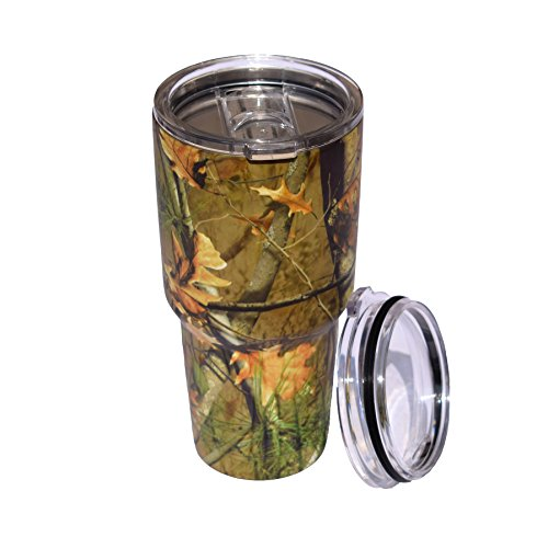 Camo Jungle Camouflage 30 OZ Stainless Steel Double Wall Vacuum Tumbler Insulated Cup Travel Mug Coffee & Beer Cup Thermos Flask With 2 Lids - Leomanor (Tumbler)
