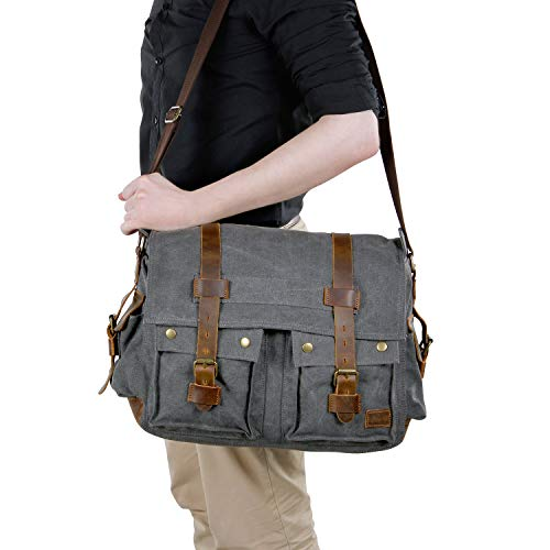 La Vogue Vintage Mens Genuine Canvas Messenger Bag