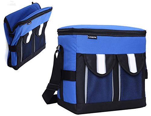 (MIER 30Cans Collapsible Soft Cooler Bag Insulated Picnic Lunch Bag for Adult, Men, Women, Leakproof Liner, Blue, Large)