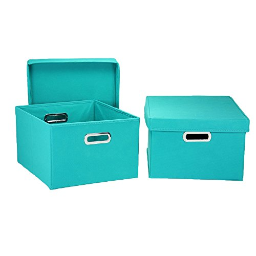 Lid Turquoise (Household Essentials Fabric Storage Boxes with Lids and Handles)
