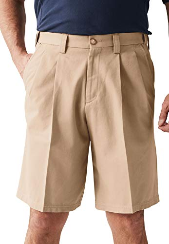 KingSize Men's Big & Tall Classic Fit Wrinkle-Free Expandable Waist Pleat Front Shorts, Dark Khaki Big-56 (Golf Pleats Shorts)