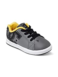 DC Court Graffik Elastic UL Shoes Skate Shoe (Toddler), Grey/Black/Yellow, 5 M US Toddler