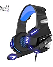 VersionTECH. Auriculares Gaming Cacos PS4 con Micrófono Aislante,Sonido Envolvente,Luz LED,Volumen Control,Para PC/Tableta/PSP/PS4/Móvil/Xbox One