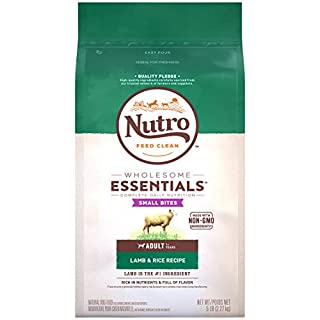 NUTRO WHOLESOME ESSENTIALS Adult Small Bites Natural Dry Dog Food Small Kibble Lamb & Rice Recipe, 5 lb. Bag