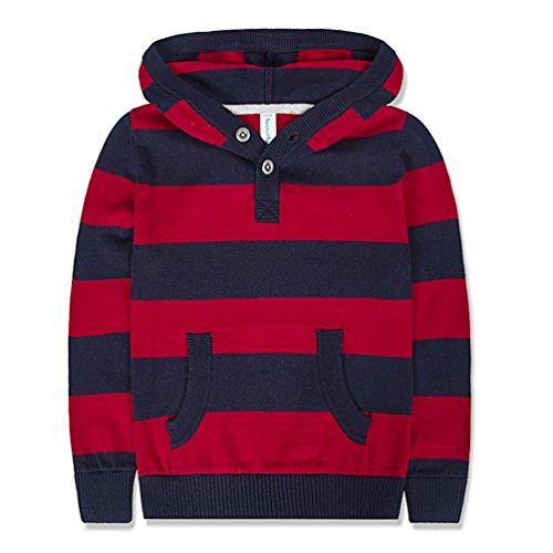 Stripe Pullover Sweater (Benito & Benita Boys' Pullover Sweater Crew Neck Cotton Stripe Sweater Casual Style For 2-12Y)