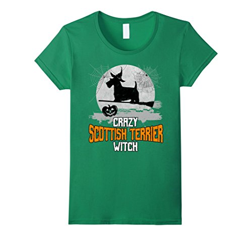 Womens Crazy Scottish Terrier Witch Funny Halloween T-Shirt XL Kelly Green