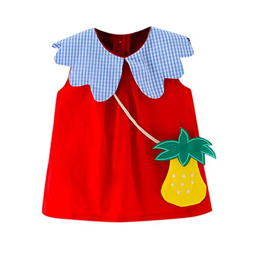 TEVEQ Toddler Kid Baby Girl Dress Plaid Printed Fruit Bag Party Princess Dress Clothing Red