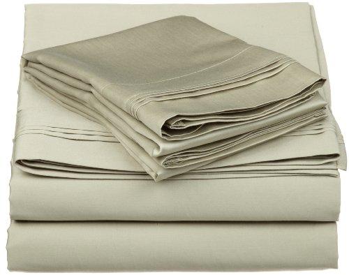 100% Egyptian Cotton 650 Thread Count, Split King 5-Piece Sheet Set, Deep Pocket, Single Ply, Solid, Sage