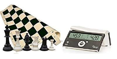 "Tournament Chess Set - 34 Chess Pieces - Black Chess Board (20"" x 20"" Vinyl Rollup) - DGT Black Easy Chess Timer Game Clock ChessCentral's ""Play Chess - Have Fun!"" E-Book-"