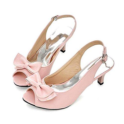 (T-JULY Women's Bowknot Patent Leather Peep Toe Slingback Kitten Heel Sandals Dress Elegant Summer Slides Shoes Pink)