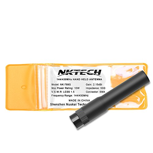 NKTECH Dual Band Antenna High Gain SMA-Male For TYT MD-380 MD-390 GPS DM-UVF10 TH-UV8000D TH-UV8000E WOUXUN KG-UV6D PRO KG-UV8D KG-UV899 GD-77 GD-55 PLUS HYT (2.87'' 10W NK-768G Soft Ant.) ()