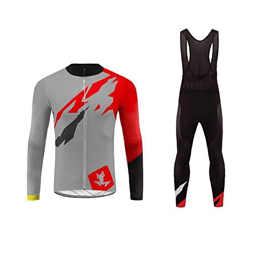 Uglyfrog Mens Cycling Jerseys, Long Sleeve Cycle Tops Suit + Bib Long Pant, Mountain Bike/MTB Shirt, Reflective Biking Bicycle Clothes, Great Cyclist Gifts -High Visible and Quick Dry (Tri Kit Herren)