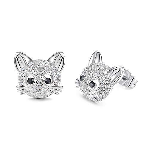 Cute Cat Stud Earrings Hypoallergenic Cat Cubic Zirconia Earrings for Women Teens Girls Cat Lovers]()