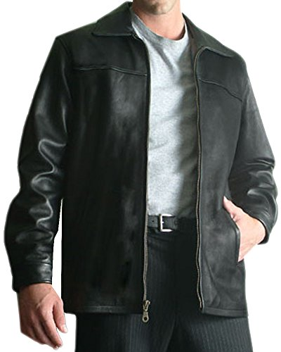 Woodland Supply Co. Men's Genuine Leather Bomber Zip Front Jacket (Medium, Black)