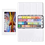 Watercolor Paint Set - 48 Assorted Colors in Half Pans, Perfect Travel Portable Foldable with Tin Palette Box, Watercolors Kit Includes 1 Water Brush for Adults Outdoor Painting, Field Sketch, Journey