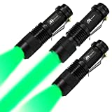 AR happy online 3 Pack Green Light LED Flashlight, 3 Light Modes, Zoomable, Tactical Torch with Clip, Adjustable Focus Light for Outdoors, Climbing, Astronomy Observation, Night Vision (Green Light)