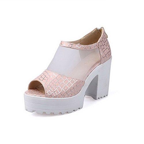 AgooLar Women's Blend Materials Assorted Color Zipper Open Toe High Heels Sandals Pink aSky1