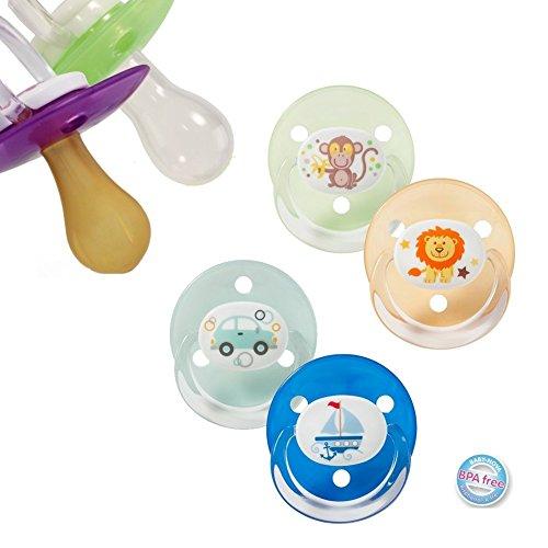 4 Stück (2 Packungen) Baby Nova Kirschform Tropfenform Schnuller Gr. UNI 0-18+ Monate (Silikon)