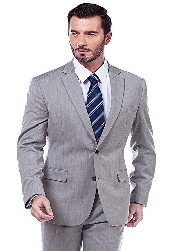 MA Single Breasted Light Grey Stripe Tailoring Business Suit (42 Regular US/ 52R EU)