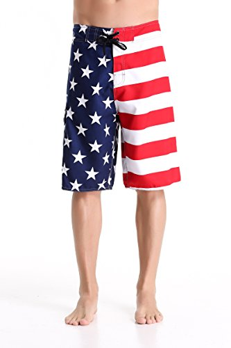 Clothin Men's Quick Dry Beach Boardshort Swim Trunks Swimming Shorts(USA Flag,US 32)