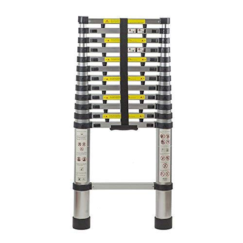 (Flash Enterprise 12.5 Ft Extendable Telescoping Aluminum Portable Ladder with Finger Protection Spacers, EN131 Certified, 330 Lb Capacity)