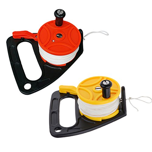 MagiDeal Set 2 Orange + Yellow Plastic Scuba Diving Multi Purpose Dive Wreck Reel Kayak Anchor with Handle, 150ft Line, Thumb Stopper by Unknown