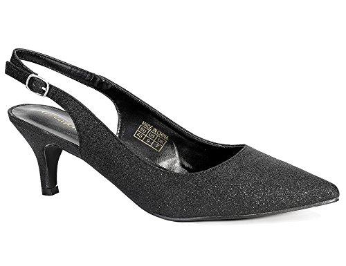 Greatonu Women Court Shoes Sexy Closed Toe Glitter Kitten Heels Black Comfortable Slingback Dress Pumps Size 9