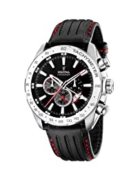 Festina Men's Crono F16489/5 Black Calf Skin Quartz Watch with Black Dial