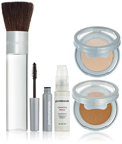 PurMinerals Start Now 5 Piece Beauty To Go Collection (Primer, Pressed Powder, Mineral Glow, Mascara, Chisel Brush) - Blush Medium 5pcs