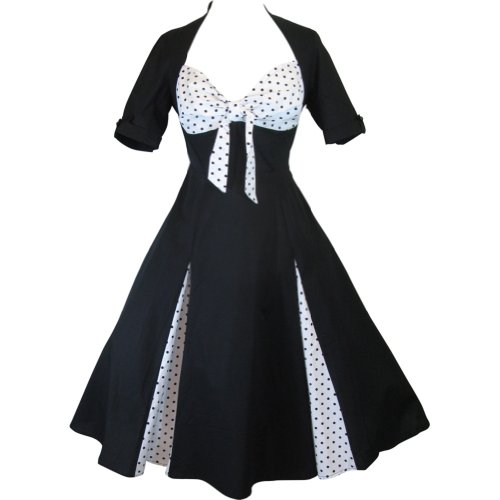 Chicstar Plus Size 50s Black And White Polka Dot Party Swing Dress