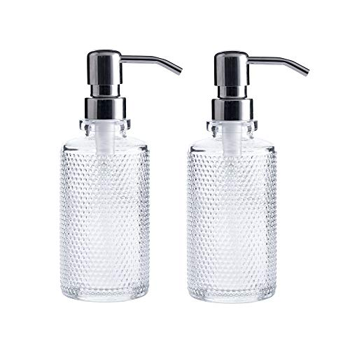 10-Ounce Clear Glass Round Dispenser Bottles with Stainless Steel Pumps (2 Pack) Ideal for Essential Oils, Lotions, Liquid Soaps