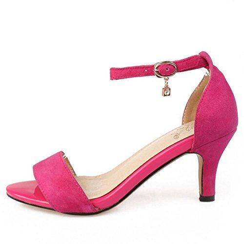 Aperta Rosa Caviglia Gattino Scarpe Medio Donne Tacco Tacchi Alla Moda RAZAMAZA Sandali Cinturino Punta Al Rosso v0ISw6SUqx